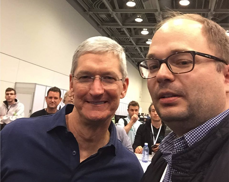 Roman, our CEO @Apple - WWDC 2015 hanging out with Tim Cook and speaking about CoSoSys technologies! Great to have insights from Apple CEO!