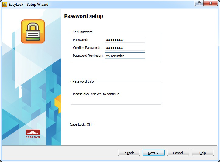 EasyLock Password Setup