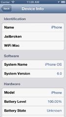 iPhone 5 device info