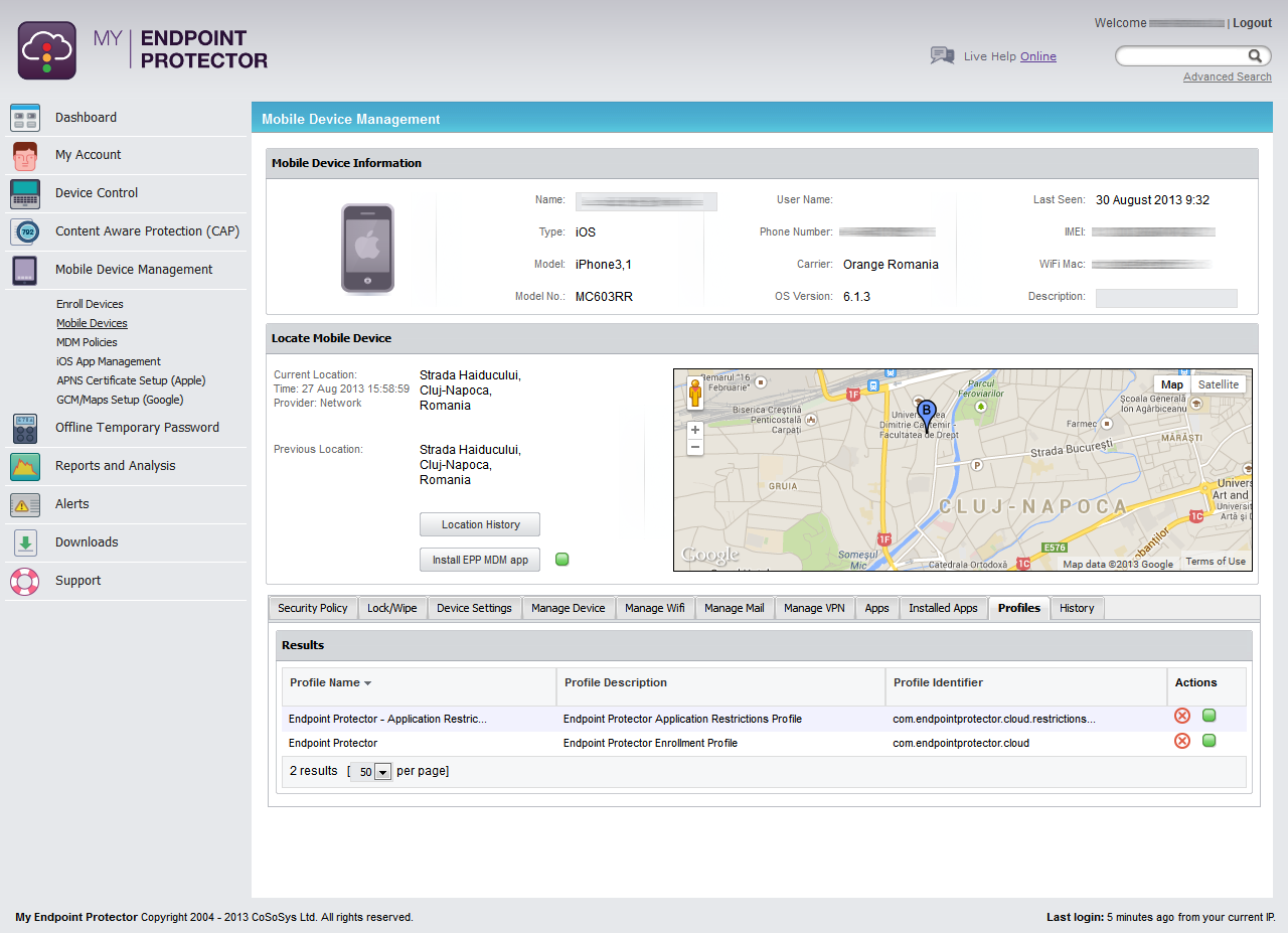 My Endpoint Protector Mobile Device Management - Manage Device Profile for iOS